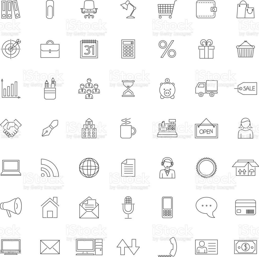 Uma coleção de ícones de negócios, escritório e comércio do contorno de quarenta e nove - ilustração de arte em vetor