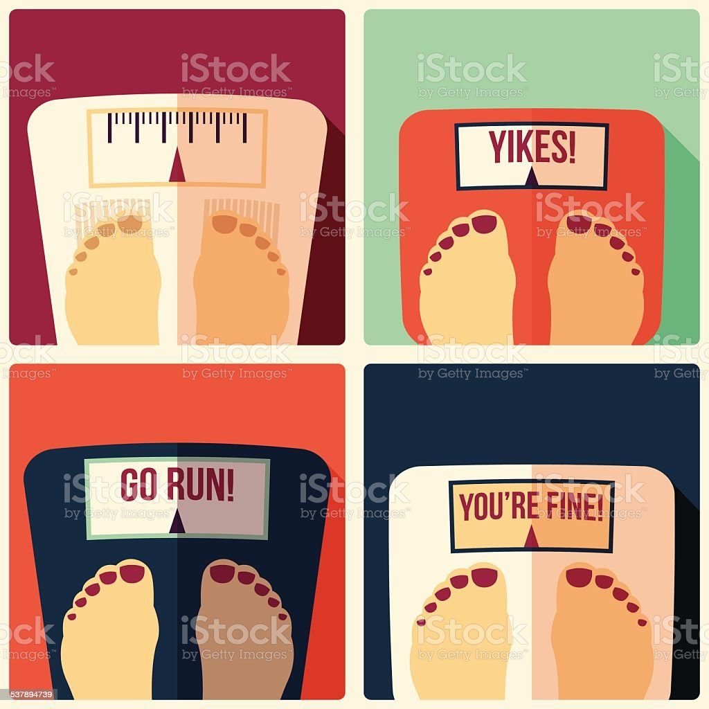 Collection of four bathroom weight scales, flat design vector art illustration