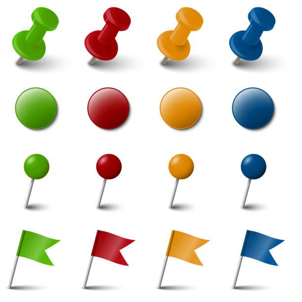 ilustrações, clipart, desenhos animados e ícones de coleção de acessórios de quatro cores marcação - pin