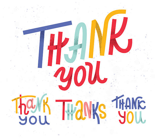 Collection of four custom colorful pieces of Thank you lettering – Vektorgrafik