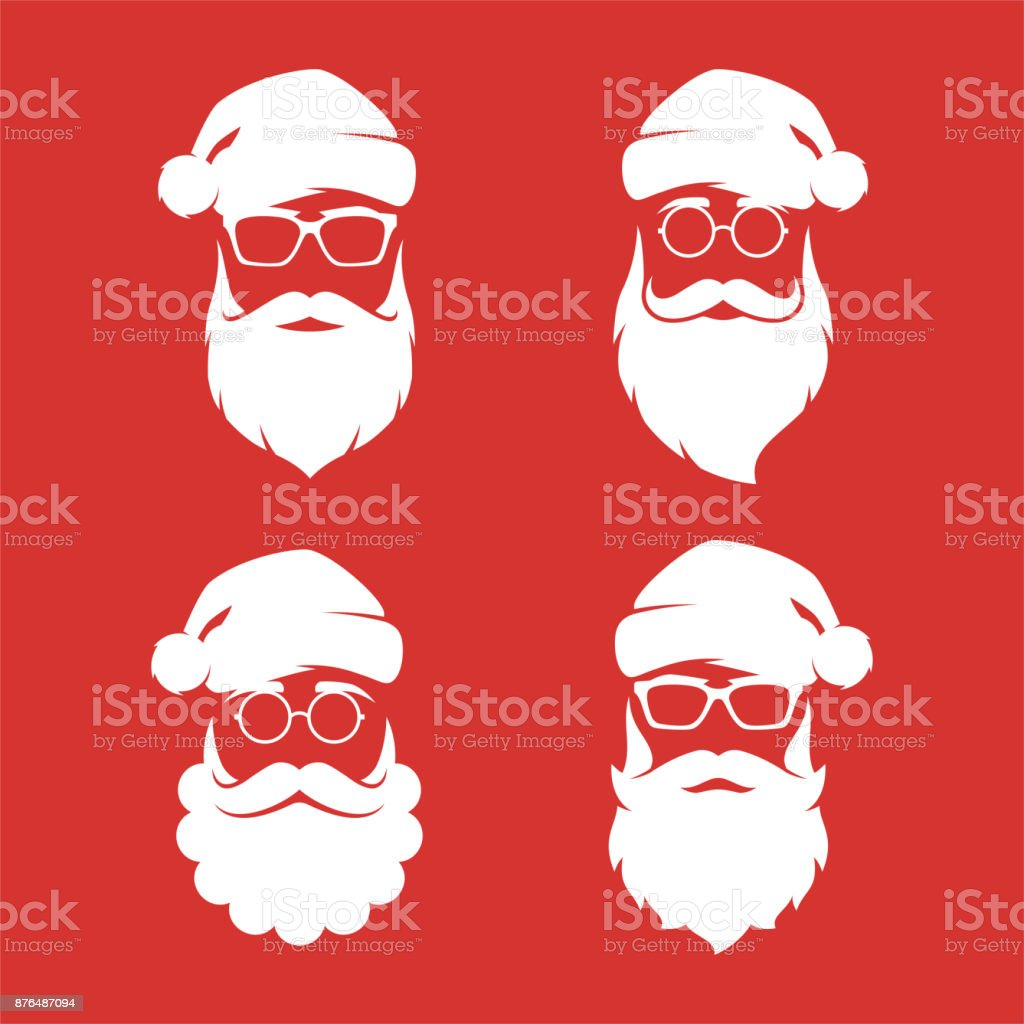 Collection of four hipster style Santa Claus silhouettes. vector art illustration