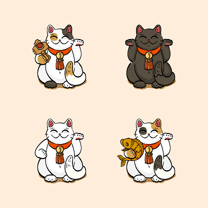 Collection of four lucky cats