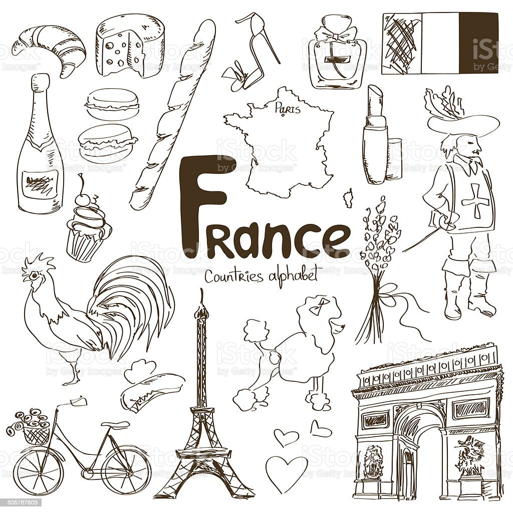 Collection of France icons vector art illustration