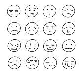 Collection of freehand drawing of unhappy emoticons.