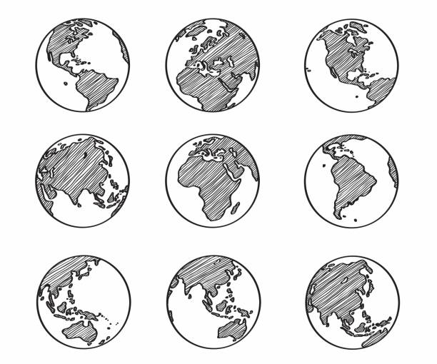 illustrazioni stock, clip art, cartoni animati e icone di tendenza di collection of freehand world map sketch on globe. - terra