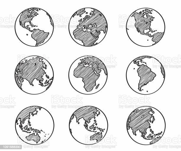Collection Of Freehand World Map Sketch On Globe - Arte vetorial de stock e mais imagens de Abstrato