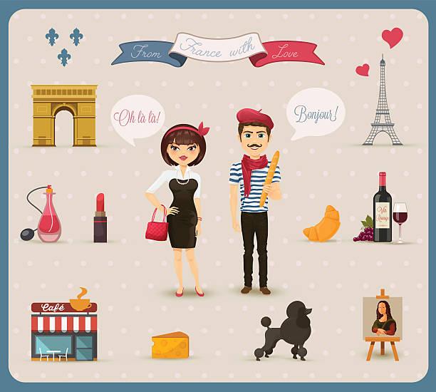 ilustraciones, imágenes clip art, dibujos animados e iconos de stock de colección de iconos, símbolos francesa - cultura francesa