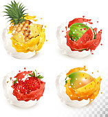 Collection of fruit in a milk and jiuce splash. Mango, pineapple, strawberry, watermelon. Vector Set