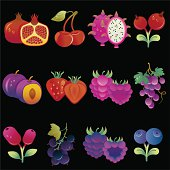 Collection of fruits and berries. ZIP includes also fruits with white background and without dew. (EPS8, large JEPG)