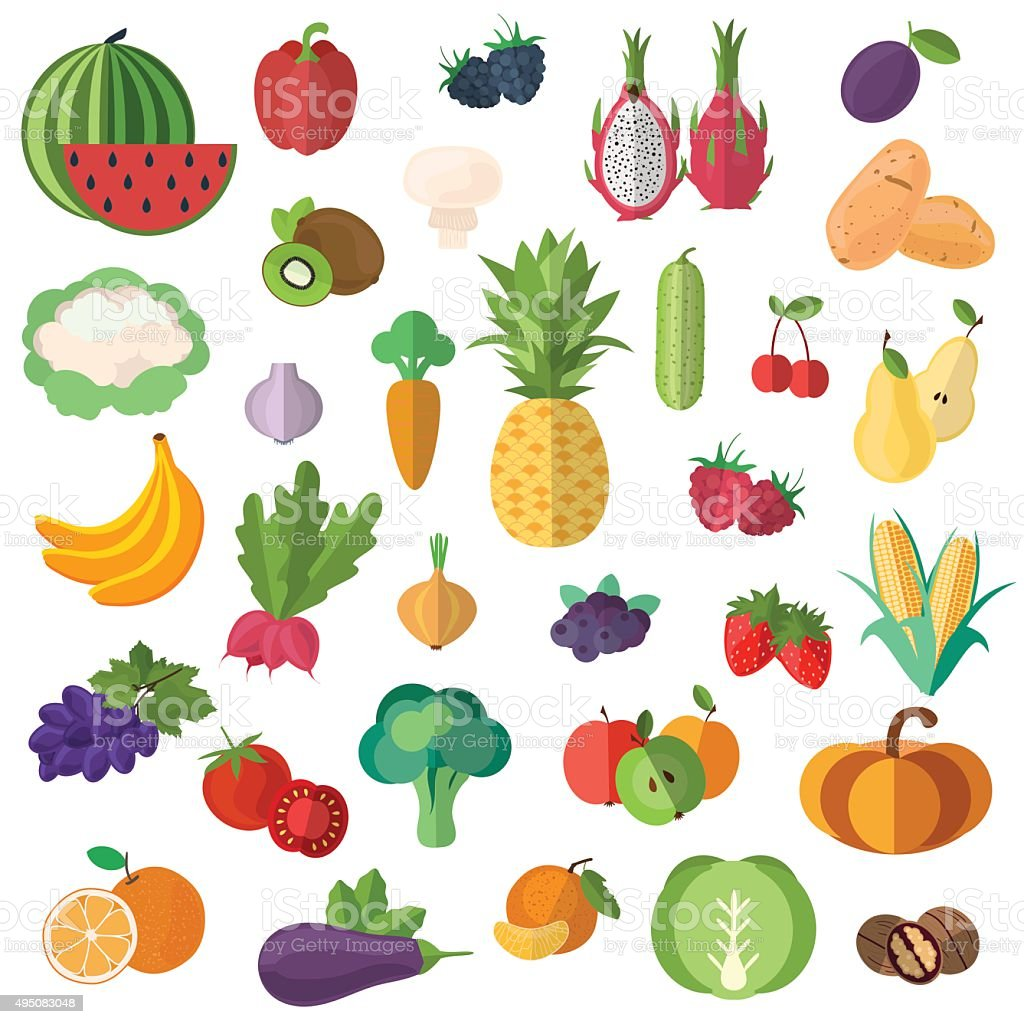 Collection of fruits and vegetables in a flat style_White background vector art illustration