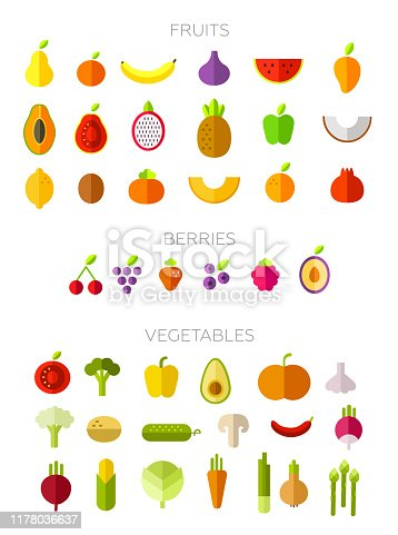 Collection of symbols of fruits, berries and vegetables in a flat style. Set vector illustration. Trendy design. White isolated. Flat design elements. Raw diet. Healthy, natural, organic food.