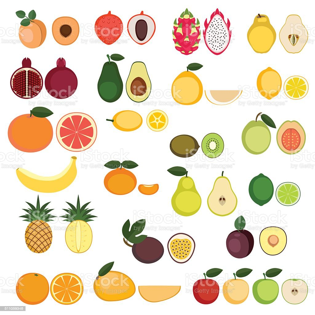 Collection of Fruits icons vector art illustration
