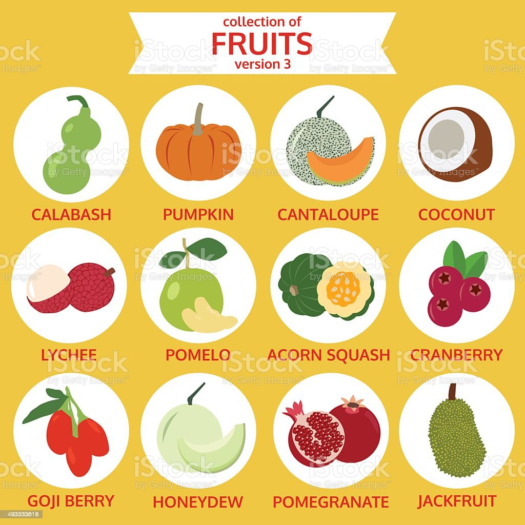collection of fruits version three, food vector, flat icon set vector art illustration