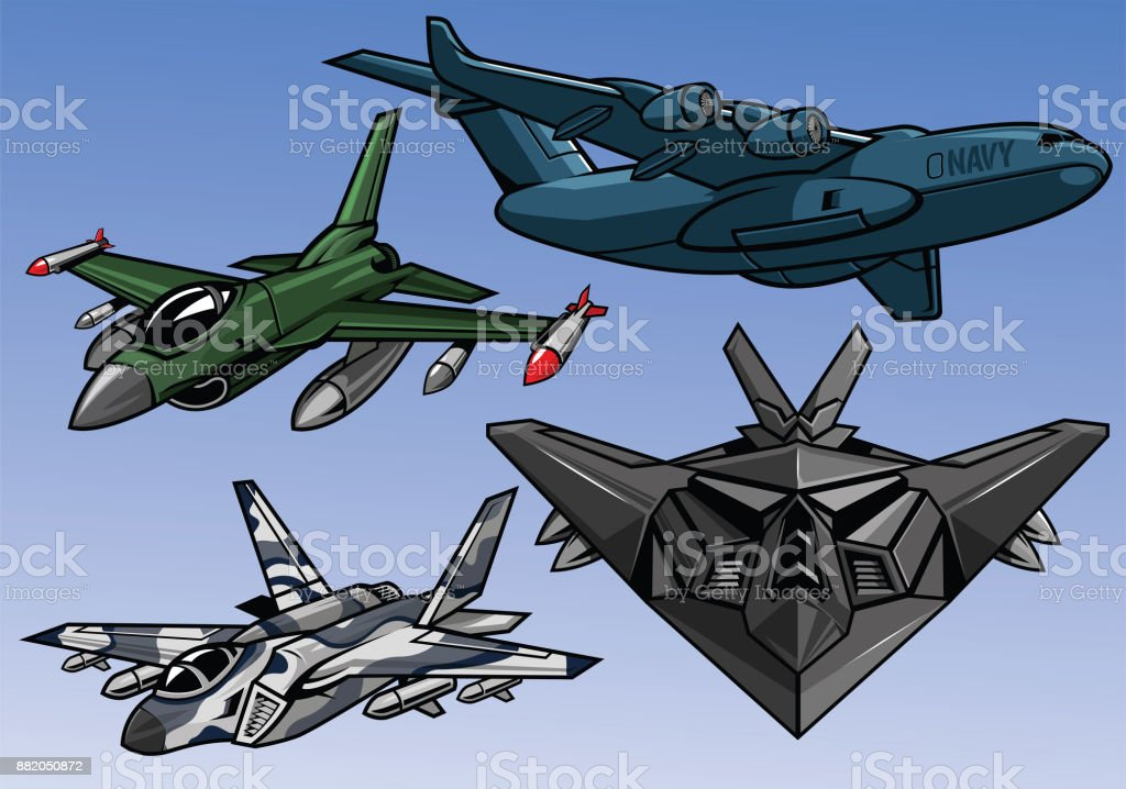collection of full color modern military aircraft vector art illustration