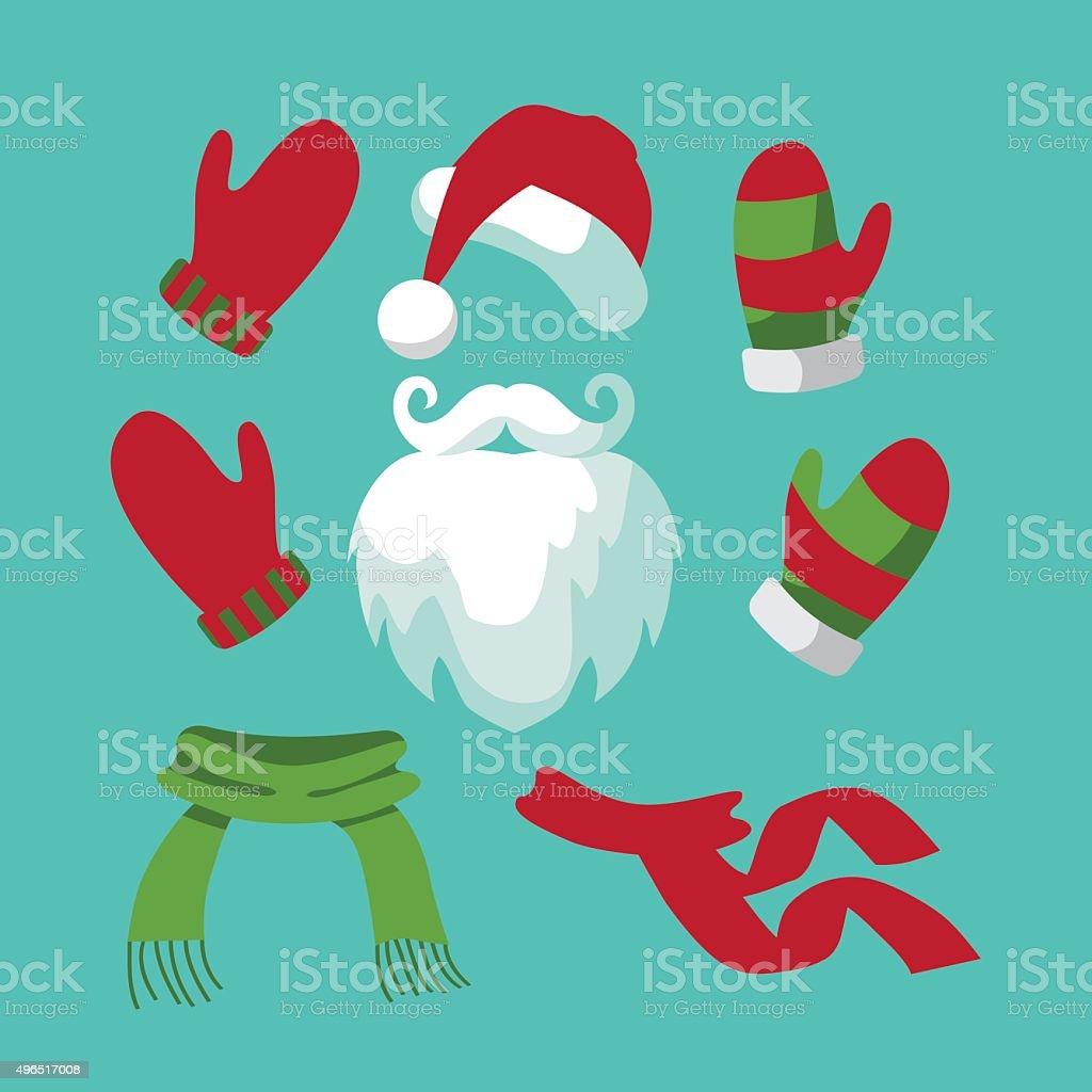 Collection of fun santa hat, mustache, beard, scarves vector art illustration