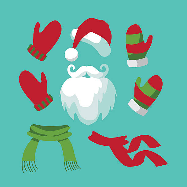sammlung von lustige santa hut und schnurrbart, bart, schals - schals stock-grafiken, -clipart, -cartoons und -symbole