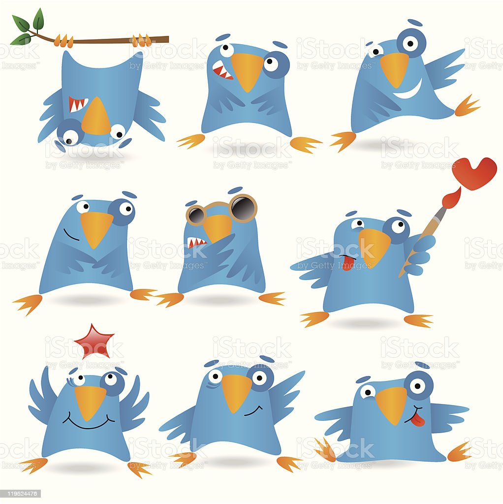 Collection of funny blue birds, vector illustration royalty-free collection of funny blue birds vector illustration stock vector art & more images of abstract