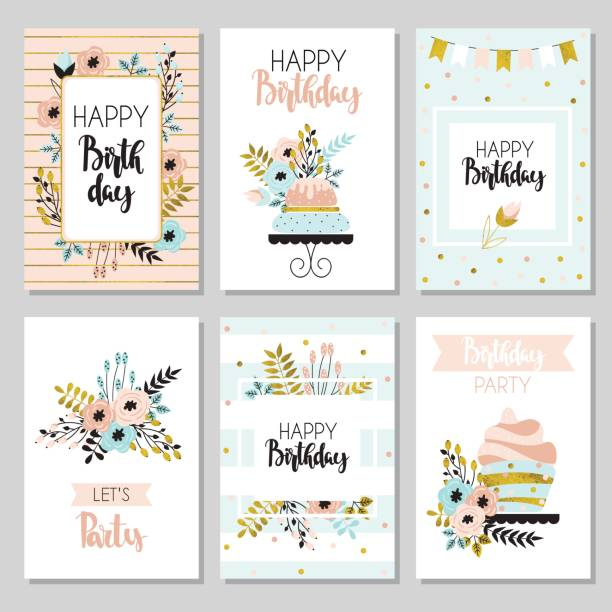 Collection of funny greeting cards Happy birthday and invitation cards with flowers and cake. Illustration in vintage style, pastel colors, vector. cake borders stock illustrations
