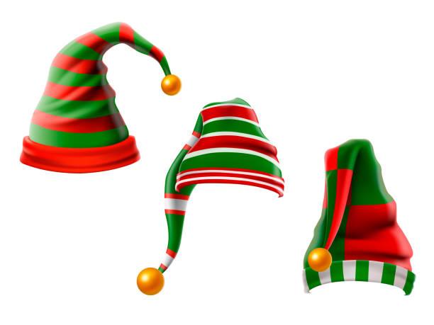 illustrazioni stock, clip art, cartoni animati e icone di tendenza di a collection of funny hats. elf hats set isolation on white background. vector illustration. - sfondo vacanze e stagionali