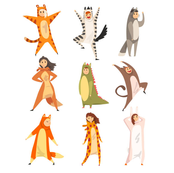Collection of funny people in animal costumes, men and women in jumpsuits or kigurumis having fun vector Illustration on a white background Collection of funny people in animal costumes, men and women in jumpsuits or kigurumis having fun vector Illustration isolated on a white background. animal costume stock illustrations