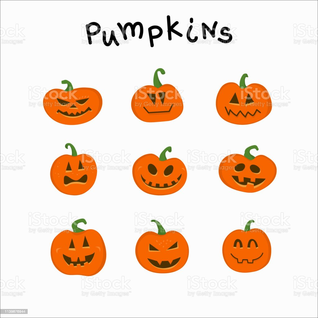 Collection Of Funny Pumpkins With Different Emotions For Halloween