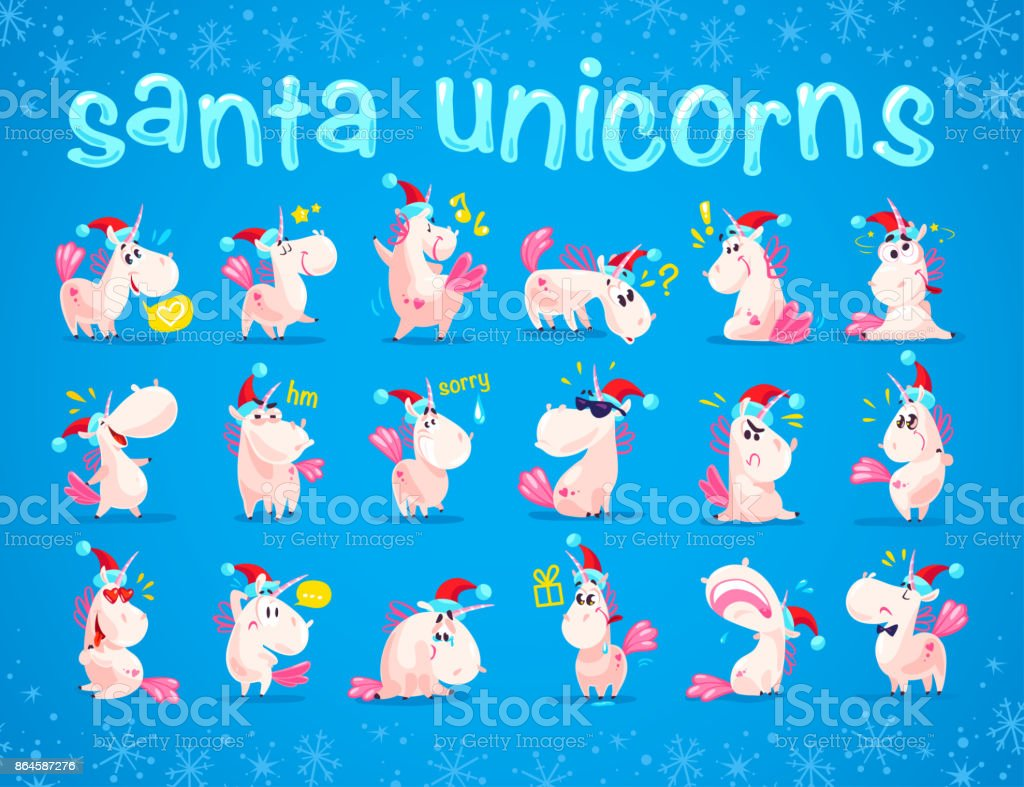 Collection Of Funny Santa Unicorn Emoticon In Santa Hat Isolated