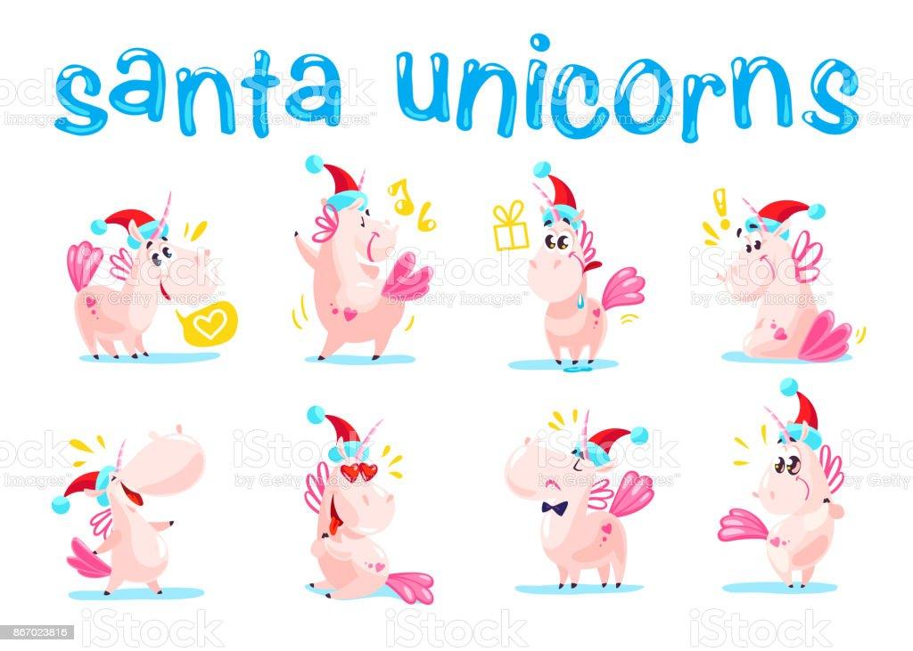 Ilustracion De Coleccion De Divertidos Emoticonos De Unicornio Santa