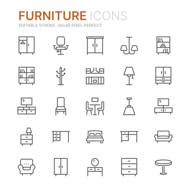 ilustrações de stock, clip art, desenhos animados e ícones de collection of furniture line icons. 48x48 pixel perfect. editable stroke - chair