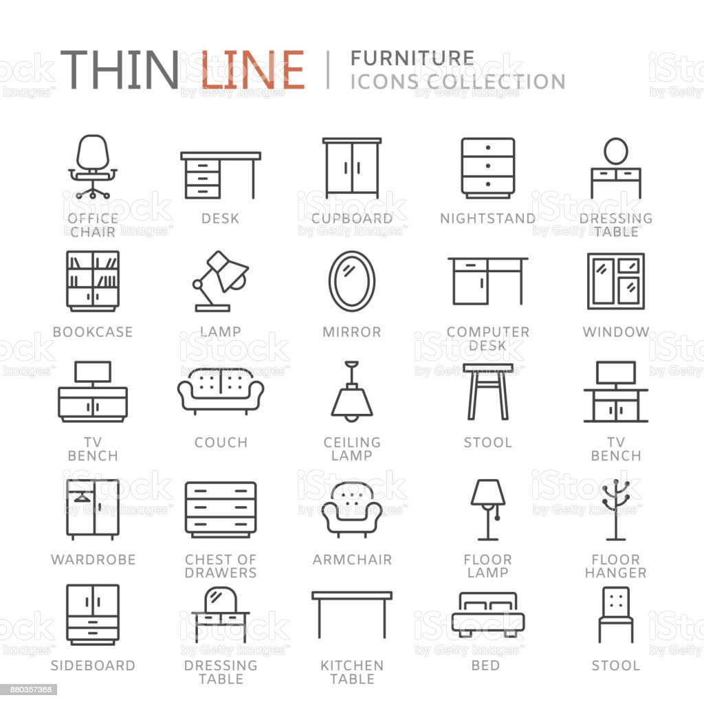 Collection of furniture thin line icons vector art illustration