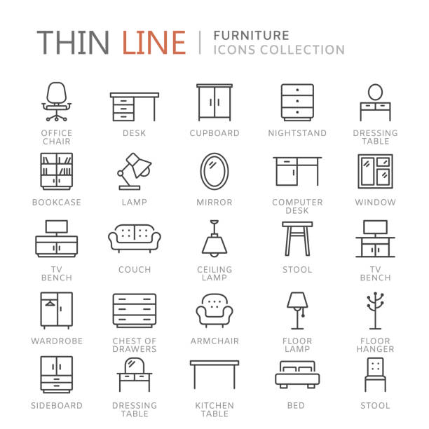 ilustrações de stock, clip art, desenhos animados e ícones de collection of furniture thin line icons - chair