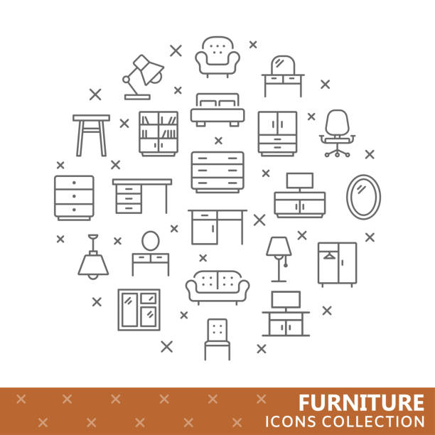 Collection of furniture thin line icons Collection of furniture thin line icons. Vector eps 8 armchair stock illustrations