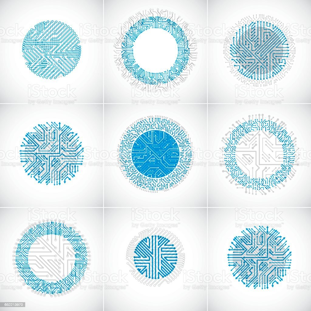 Collection of futuristic blue cybernetic schemes with multidirectional arrows, vector motherboards. Circular elements with circuit board texture. vector art illustration