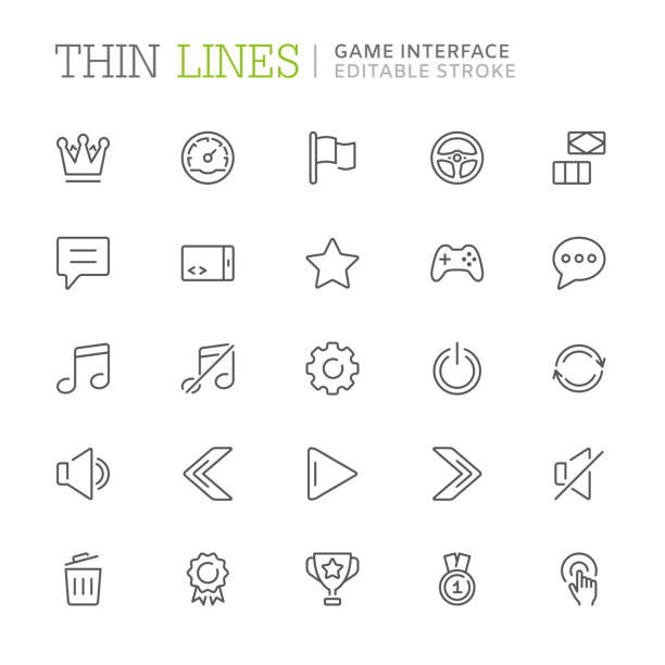 Collection of game interface related line icons. Editable stroke Collection of game interface related line icons. Editable stroke game controller stock illustrations