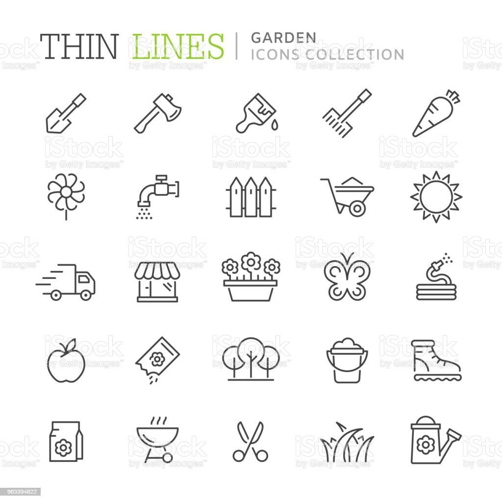 Colección de iconos de delgada línea jardín - ilustración de arte vectorial