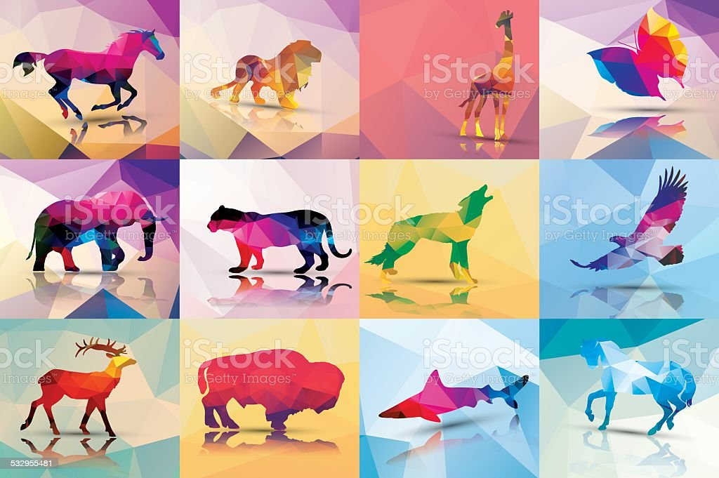 Collection of geometric polygon animals, vector illustration Collection of geometric polygon animals, horse, lion, giraffe, butterfly, elephant, leopard, wolf, eagle, deer, buffalo, shark, vector illustration 2015 stock vector