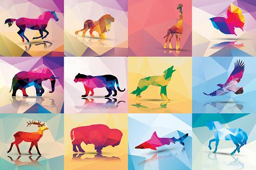 Collection of geometric polygon animals, vector illustration