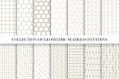 Collection of geometric seamless vector patterns. Simple minimal design. You can find repeatable backgrounds in swatches panel.