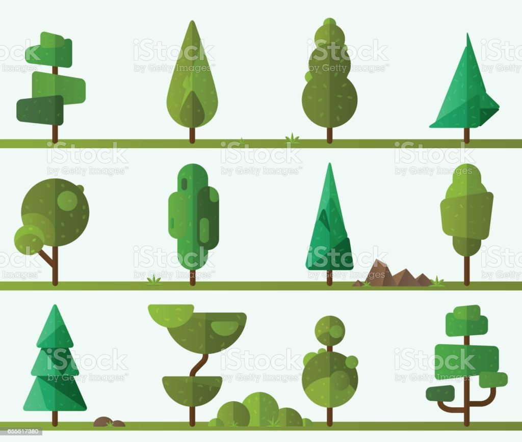Collection of geometric trees vector art illustration