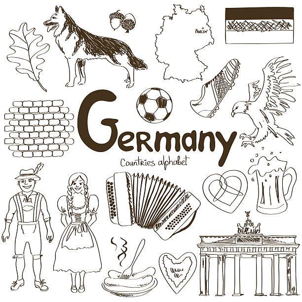 ilustrações de stock, clip art, desenhos animados e ícones de coleção de ícones de alemanha - berlin wall