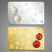 Collection of gift cards with christmas balls. Vector background
