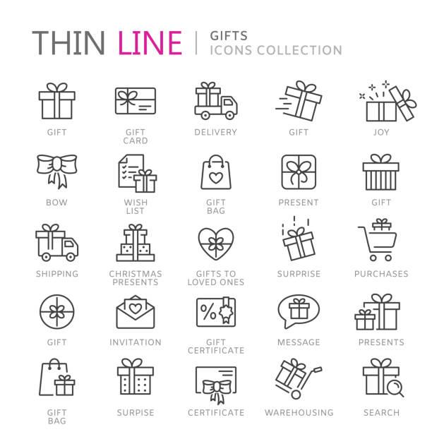 stockillustraties, clipart, cartoons en iconen met verzameling van giften dunne lijn icons - birthday gift voucher
