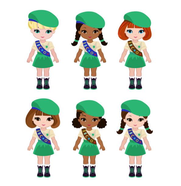 bildbanksillustrationer, clip art samt tecknat material och ikoner med samling av flickorna scouter camping outfit, sommar läger aktiviteter - brownie