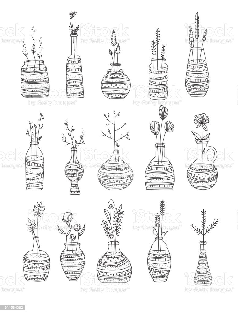 Collection Of Glass Bottles With Flowers Hand Draw Style Black