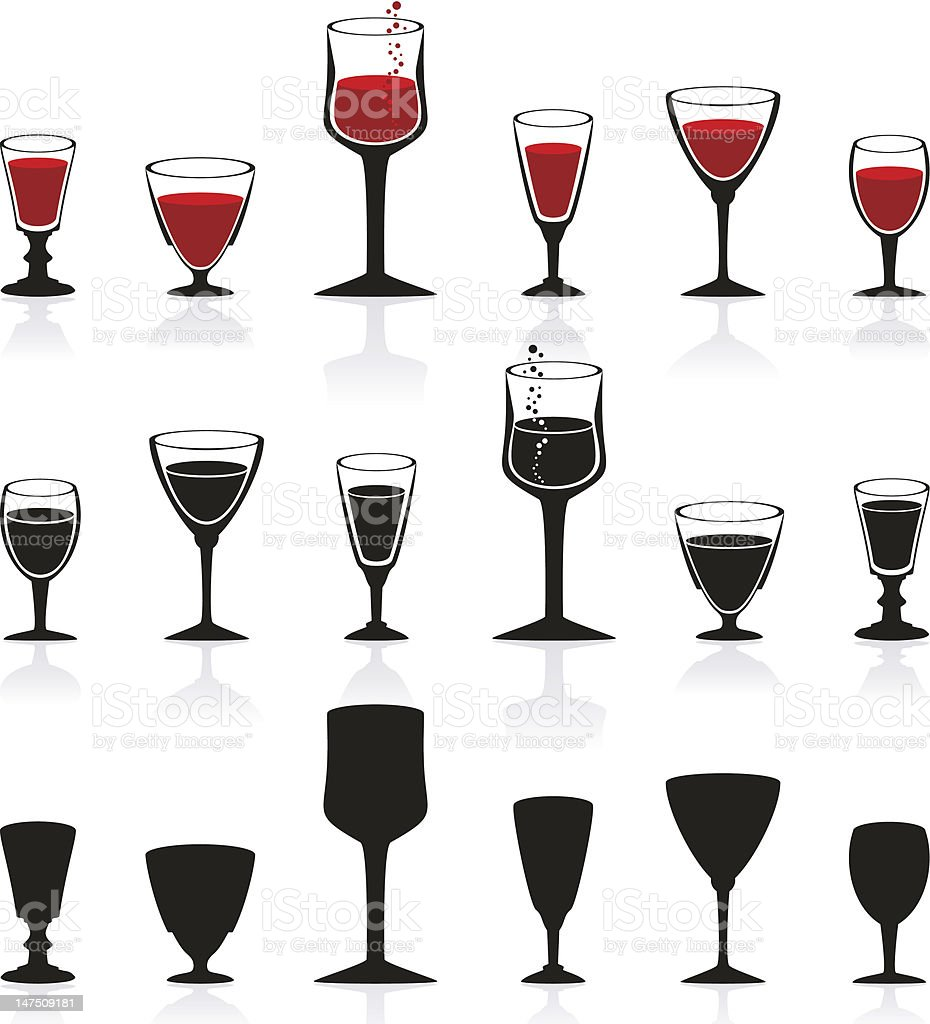 Collection of glass. vector art illustration