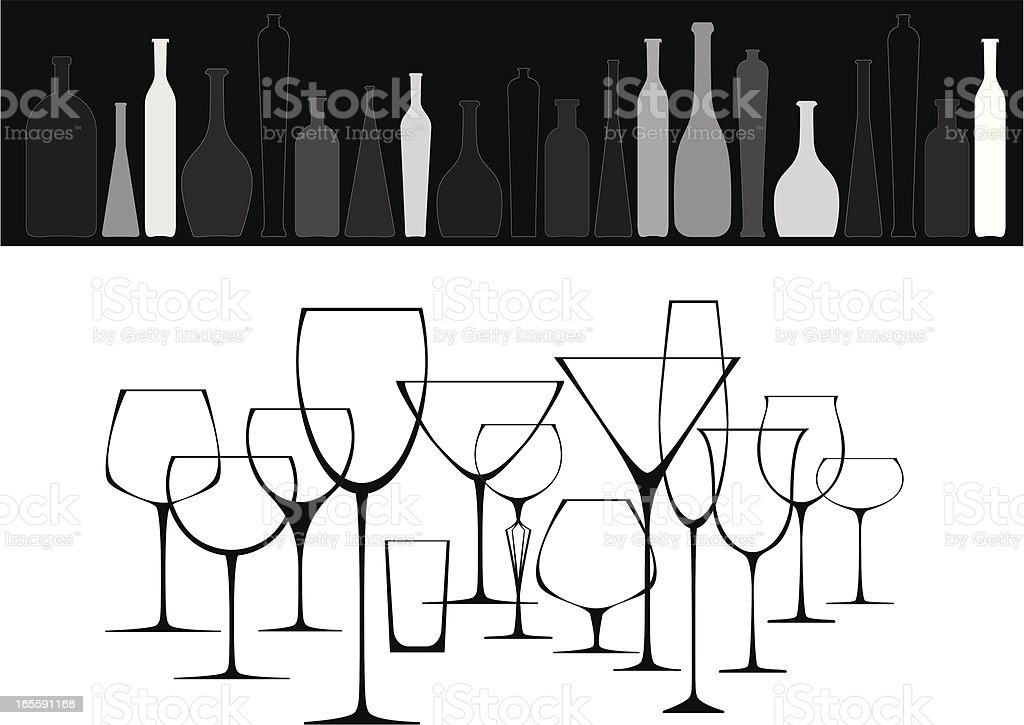 Collection of glasses and bottles vector art illustration