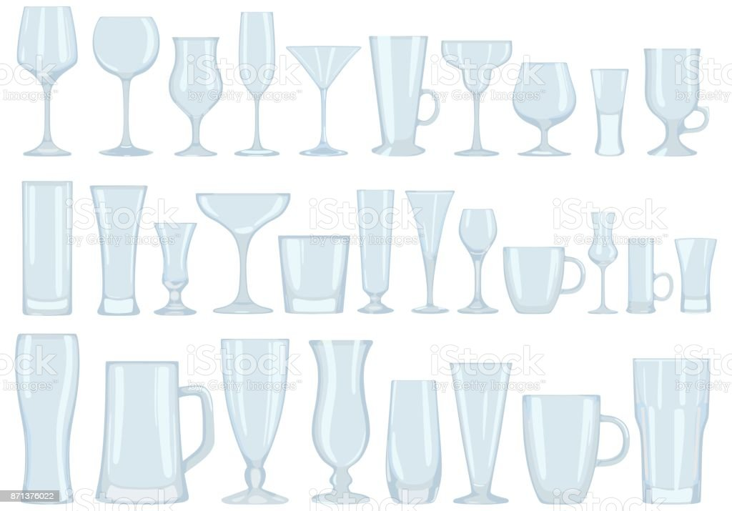 Collection of glasses for drinks. Dishes. Vector illustration. vector art illustration
