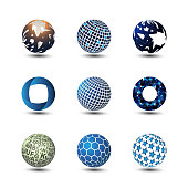 Collection Of Colorful Globe Designs in Editable Vector Format
