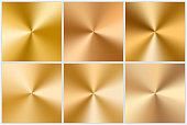 Collection of vector conic gradients. Gold plates with a metal texture