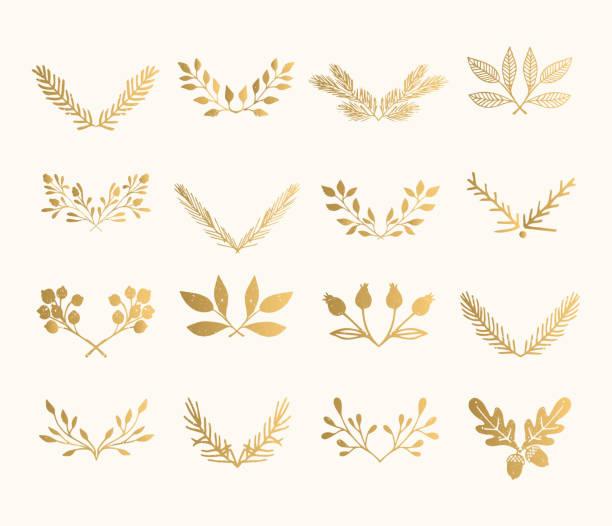 kolekcja złotych podzielników rozkwitu. ręcznie rysowane izolowane granice. folia teksturowane elementy konstrukcyjne. - gałązka stock illustrations
