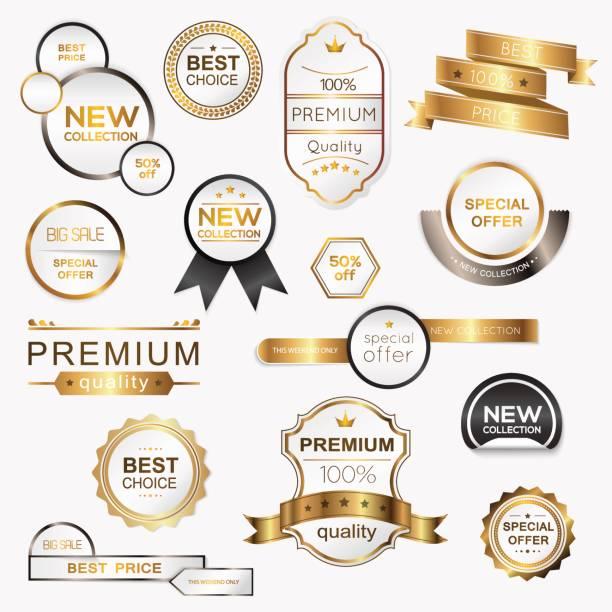 ilustrações, clipart, desenhos animados e ícones de coleção de selos/etiquetas da promo prêmio dourado. ilustração em vetor isoladas. - tag